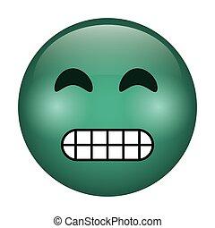 emoticon, divertente, grimacing, faccia, icona