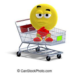 emoticon, divertido, compras, sentado, carrito, fresco