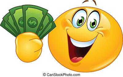 emoticon, dollars