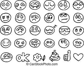 emoticon, doodles, jogo