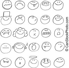 Emoticon doodles set. Vector hand drawn