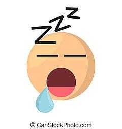 emoticon, dormir, dessin animé, icône