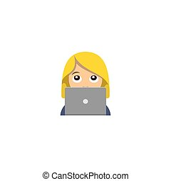 emoticon, draagbare computer, vrouw, computer, werkende