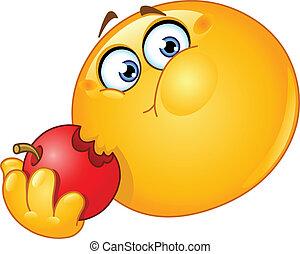 Emoticon eating apple - Emoticon eating an apple