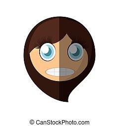 emoticon, effrayé, conception, dessin animé