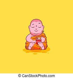 emoticon, emoção, xícara café, adesivo, personagem, isolado, ilustração, cima, vetorial, buddha, infeliz, caricatura, woke, emoji