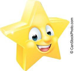 emoticon, emoji, estrela, mascote