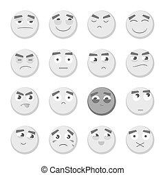 emoticon, emoticons., emoji., アイコン, set., smiley, 隔離された, コレクション, 顔, バックグラウンド。, ベクトル, 白, 3d