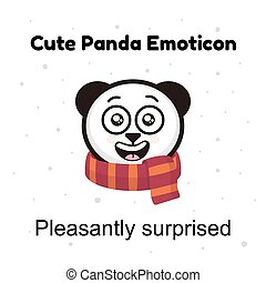 emoticon, emotie, emoticons, karakter, vrijstaand, panda, achtergrond., illustraties, witte , emoji, stickers, spotprent, verwonderd, aangenaam