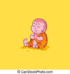 emoticon, emotion, vektor, mærkaten, karakter, isoleret, illustration, mediter, buddha, ulykkelige, cartoon, emoji