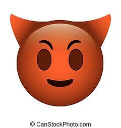 Emoticon, ENGRAÇADO, diabo, ícone