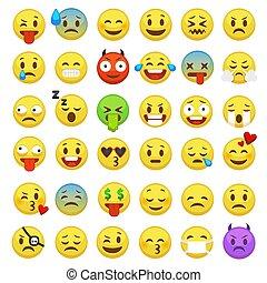 emoticon, engraçado, emoticons, ícones, set., smiley, emotes, sentimentos, vetorial, mensageiro, conversa, digital, sorrizo, emoji, expressão, caricatura, emoção, caras