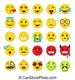 emoticon, engraçado, emoticons, set., cobrança, vetorial, caras, sorrizo, emoji