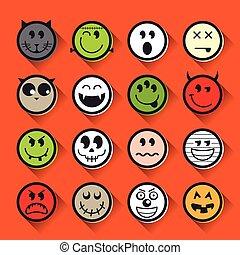 emoticon, ensemble, halloween, collection, vecteur, icône
