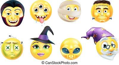 emoticon, ensemble, halloween, icône