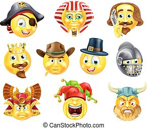 emoticon, ensemble, histoire, emoji