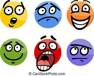 emoticon, ensemble, illustration, dessin animé, émotions, ou