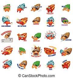 emoticon, ermitaño, expresión, cangrejo, emoji