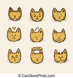 emoticon, esboço, gato
