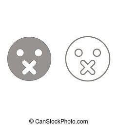 emoticon, esso, silenzio, icona