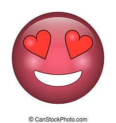 emoticon, estilo, amor, ícone