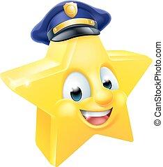 emoticon, estrela, polícia, emoji