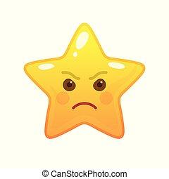 emoticon, fâché, étoile, comique, formé