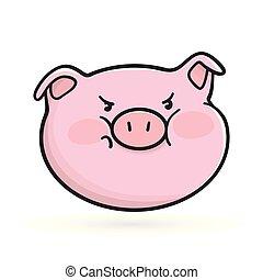 emoticon, fâché, emoji, icon., cochon