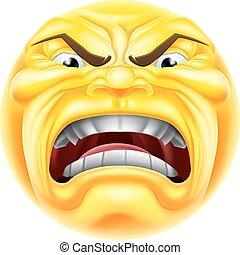 emoticon, fâché, emoji