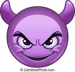 emoticon, faccia sorridente, corna