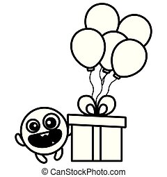emoticon face with balloons helium and gift