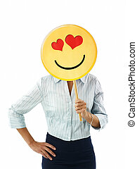 emoticon, femme affaires
