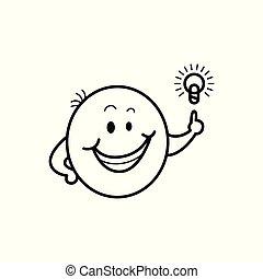 emoticon, figure, lumière, smiley, idée, vecteur, ampoule, mâle