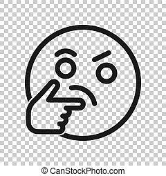 emoticon, firma, tænkning, concept., karakter, isoleret, illustration, zeseed, baggrund., vektor, smile, style., transparent, ikon