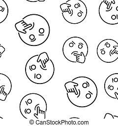 emoticon, firma, tænkning, mønster, concept., karakter, isoleret, illustration, seamless, baggrund., vektor, smile, hvid ansigt, ikon