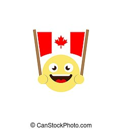 emoticon flag of canada vector icon isolated on white background