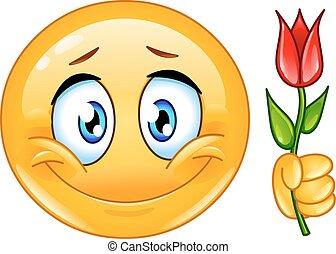 emoticon, fleur