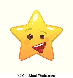 emoticon, fou, étoile, comique, formé