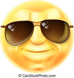 emoticon, fresco, óculos de sol, emoji