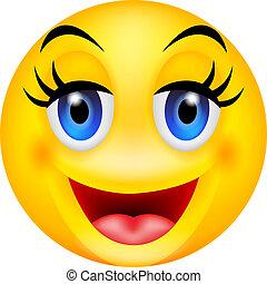 emoticon, furcsa, mosoly