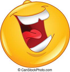 emoticon, głośny, śmiech, poza