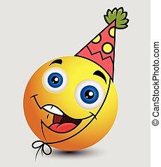 emoticon, garçon, anniversaire, smiley, emoji
