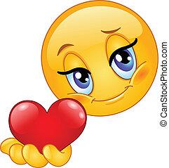 emoticon, ge sig, hjärta
