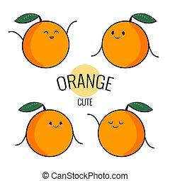 emoticon, gekke , anders, iconen, face., karakter, vrijstaand, emoties, vector, white., sinaasappel, komisch, stickers, spotprent, set.