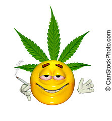 Emoticon Getting High - An emoticon enjoys smoking cannabis...