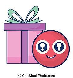 emoticon, giftbox, プレゼント, 顔