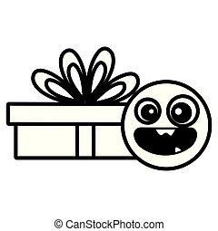 emoticon, giftbox, présent, figure