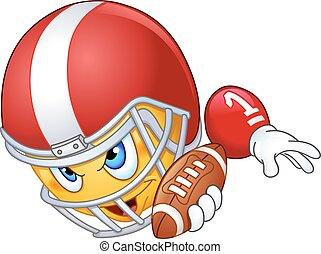 emoticon, giocatore, football americano