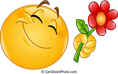 emoticon giving flower - Happy emoticon giving a flower