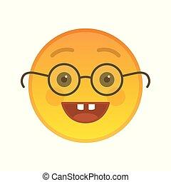 emoticon, glasögon, nerd, isolerat, element
